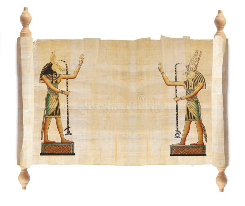 Bläddra med den egyptiska papyrusen royaltyfria foton