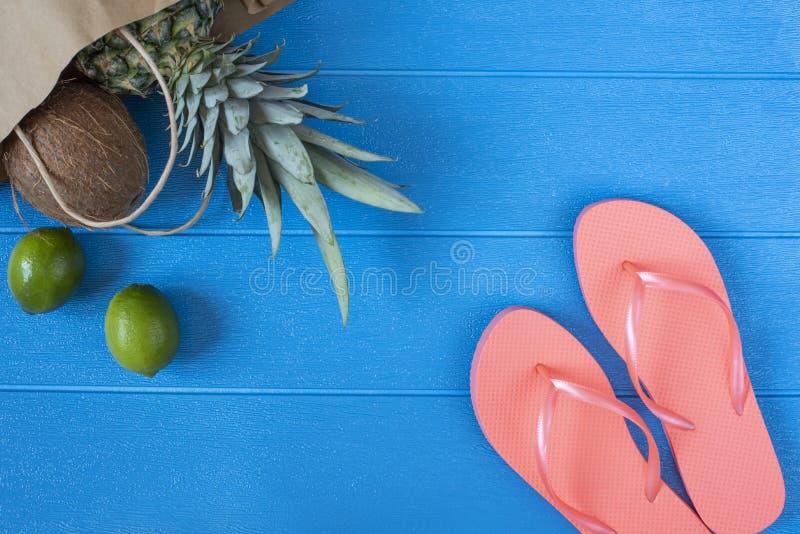 Bläddra misslyckanden och tropiska frukter på livlig blå träbakgrund sommar f?r sn?ckskal f?r sand f?r bakgrundsbegreppsram Lekma arkivbild