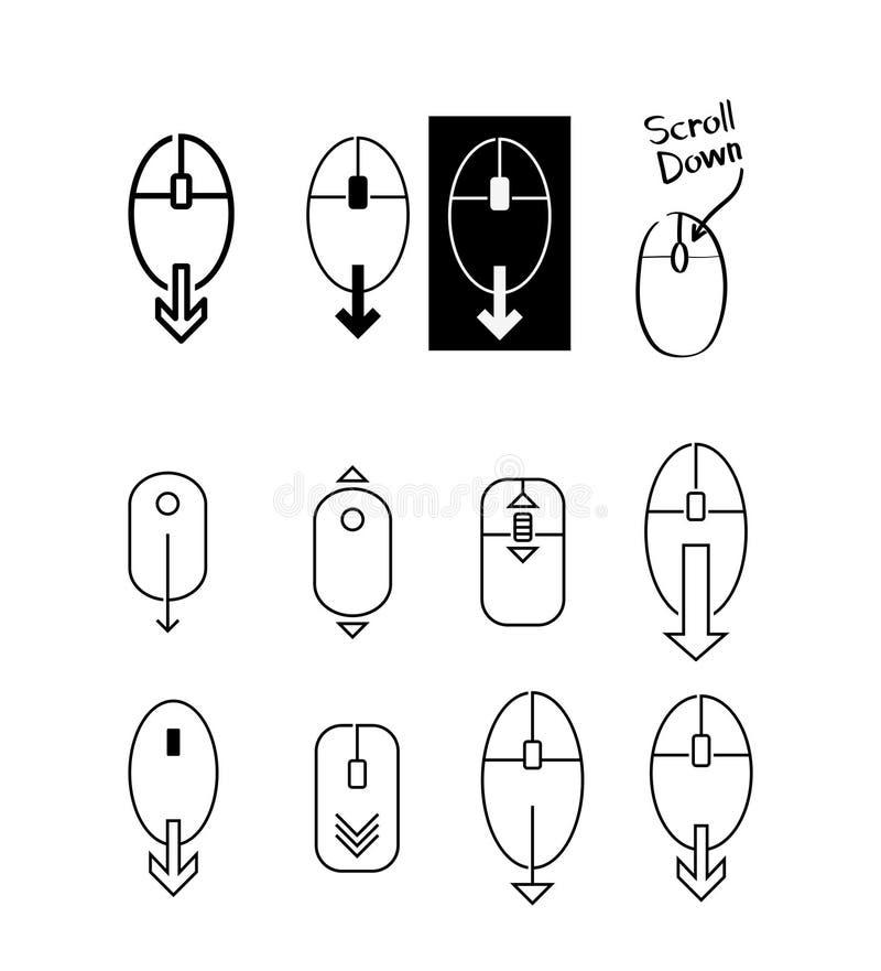 Bläddra ner datormussymbolen - Vektorillustration vektor illustrationer