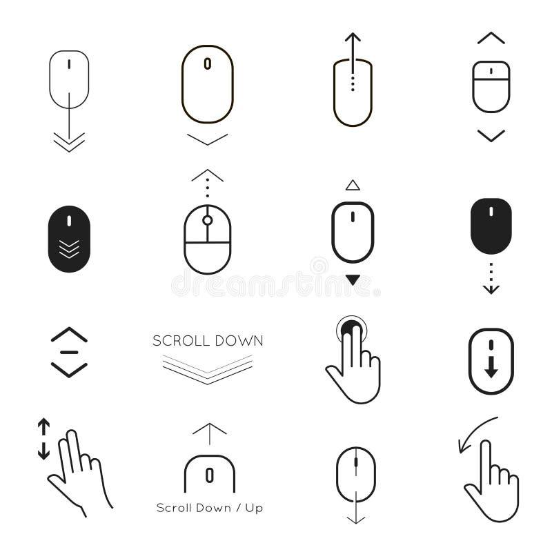 Bläddra ner och knappen upp symbolsuppsättning stock illustrationer