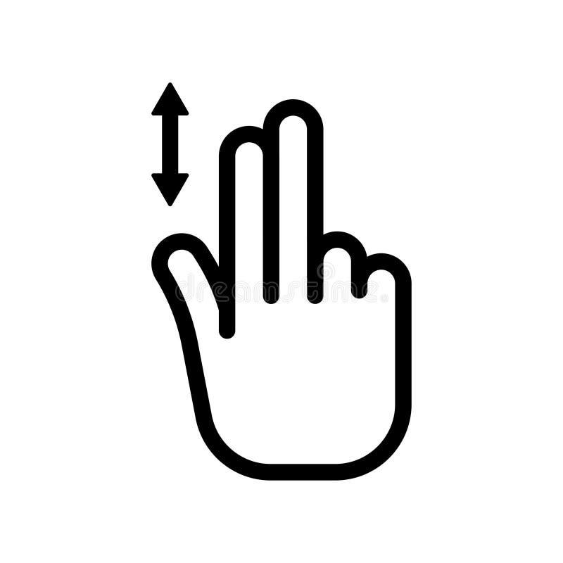 Bläddra ner symbolen Vertikal snirkel för två finger royaltyfri illustrationer