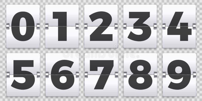 Bläddra nummer kontrar Den gamla mekaniska nedräkningen bläddrar, det retro funktionskortnummertecknet och den numeriska räknarev vektor illustrationer