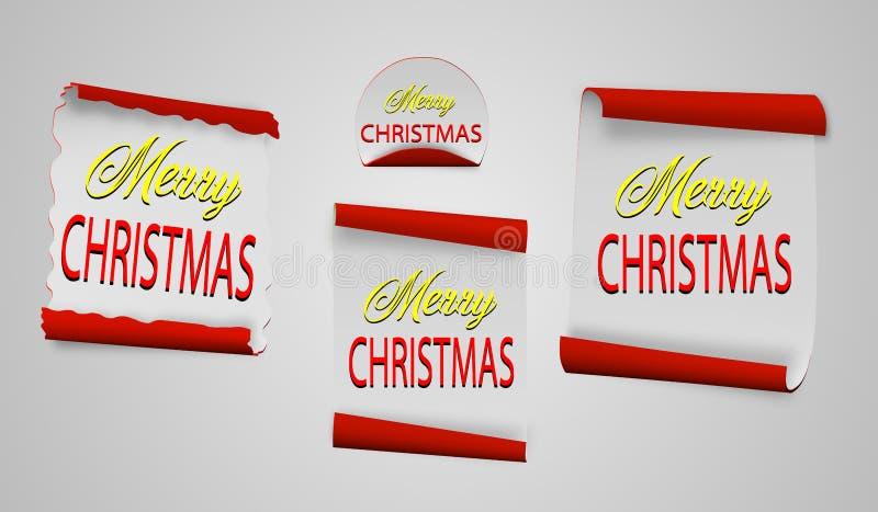 Bläddra röd glad jul, realistiska pappers- baner också vektor för coreldrawillustration royaltyfri illustrationer