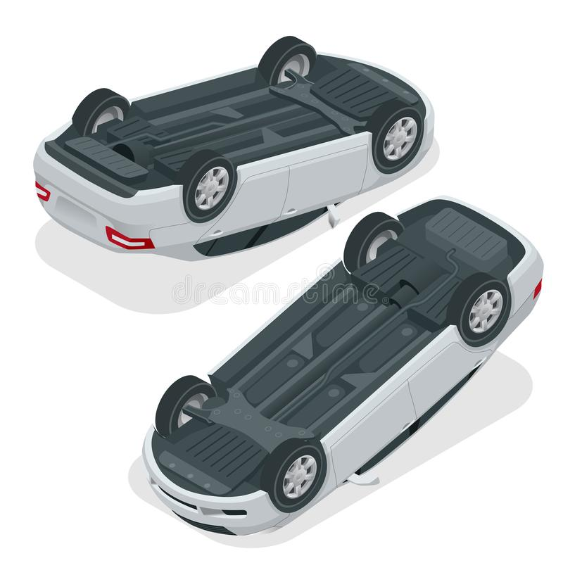 Bläddrad bil Bil som över vänds efter olycka Medlet bläddrade på taket Isometrisk illustration för vektor royaltyfri illustrationer