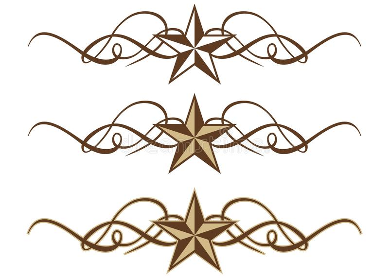 bläddrar den västra stjärnan stock illustrationer