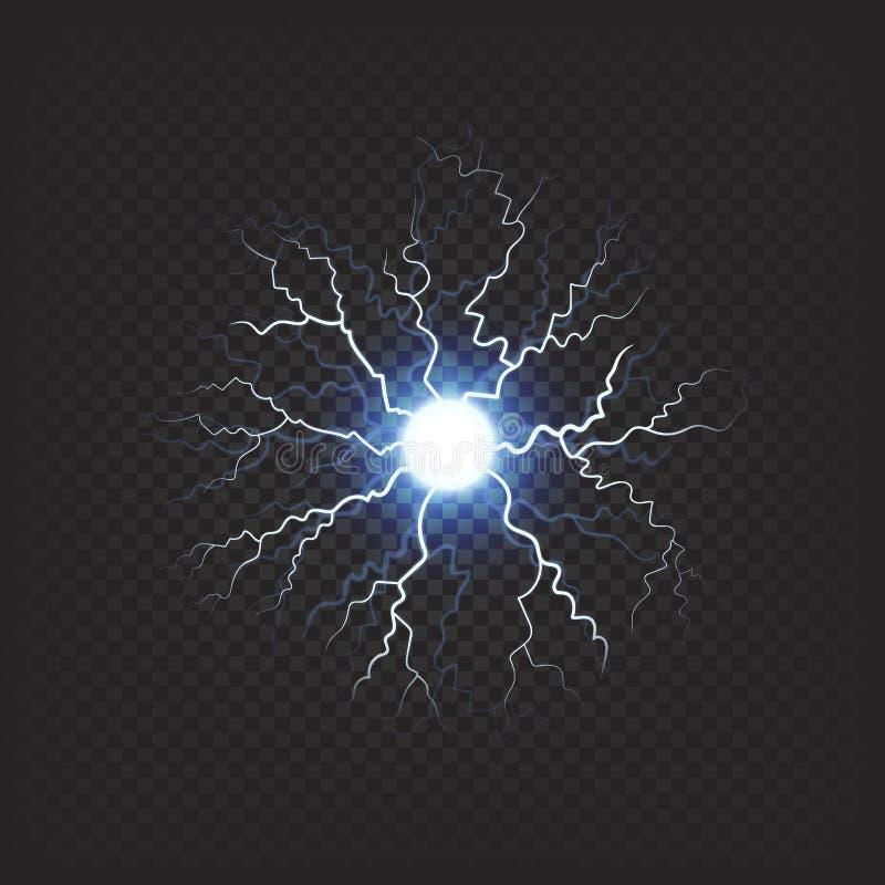 Bländande boll med realistisk effekt för blixtar royaltyfri illustrationer