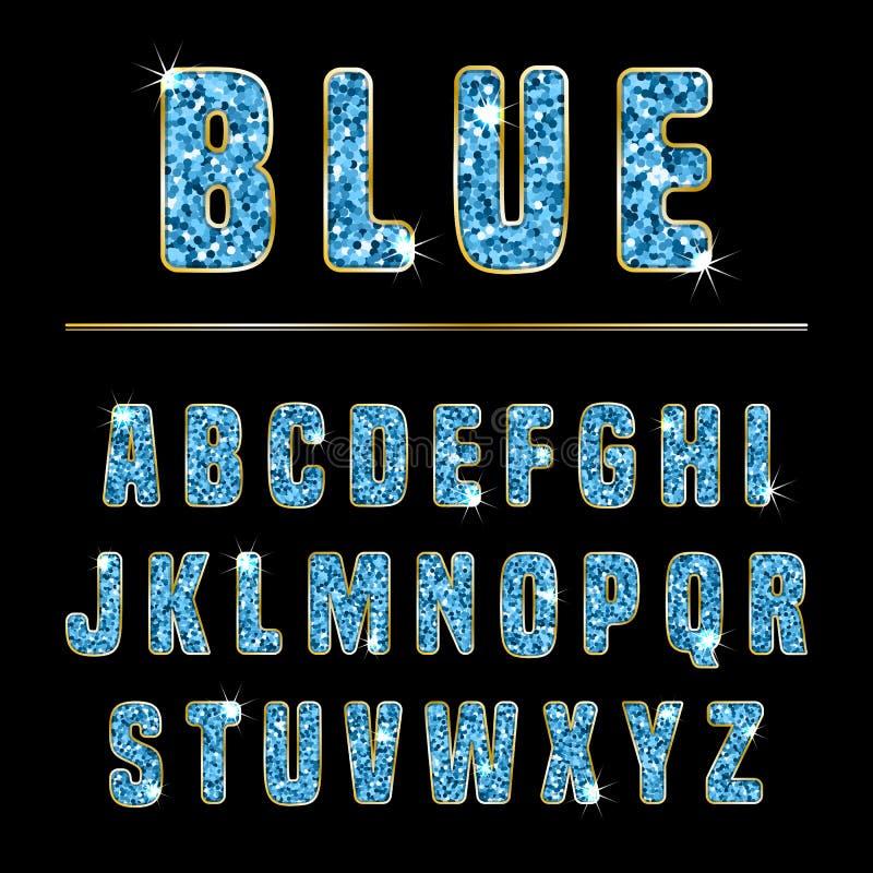Blänka alfabetblått stock illustrationer