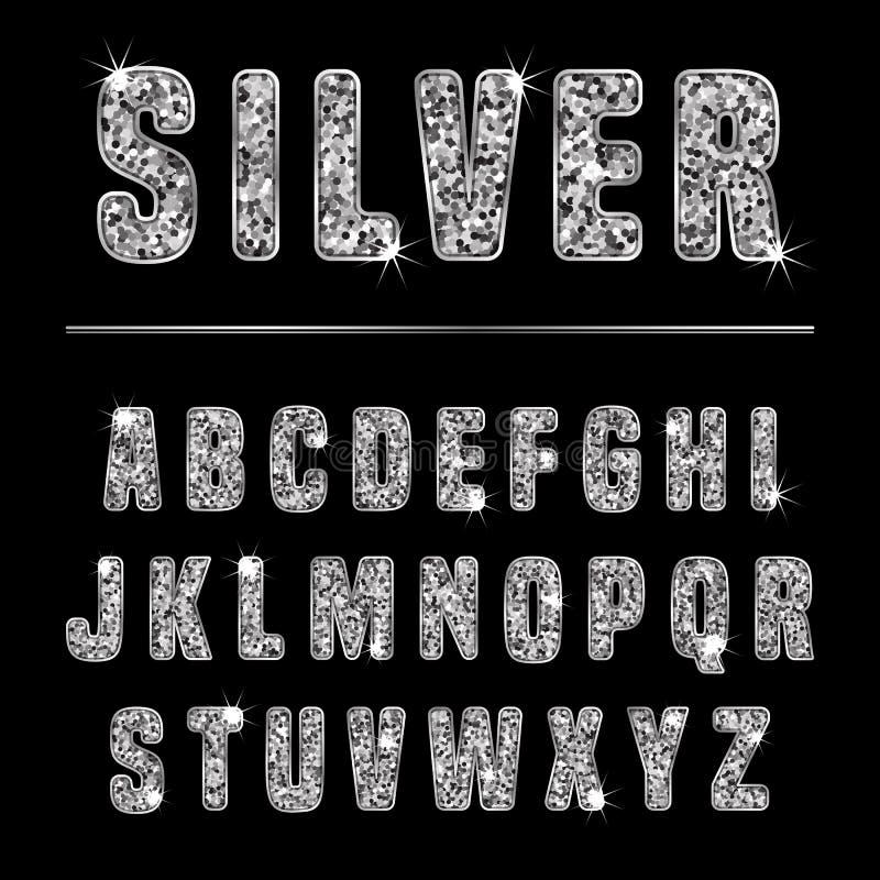 Blänka alfabetsilver vektor illustrationer