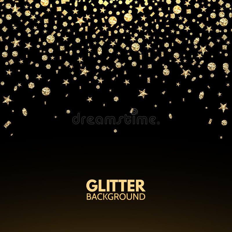blänka bakgrund Fallande guld blänker konfettier Lyxigt julhälsningkort Den ljusa brusanden för stjärnadamm blänker ramen Vect vektor illustrationer