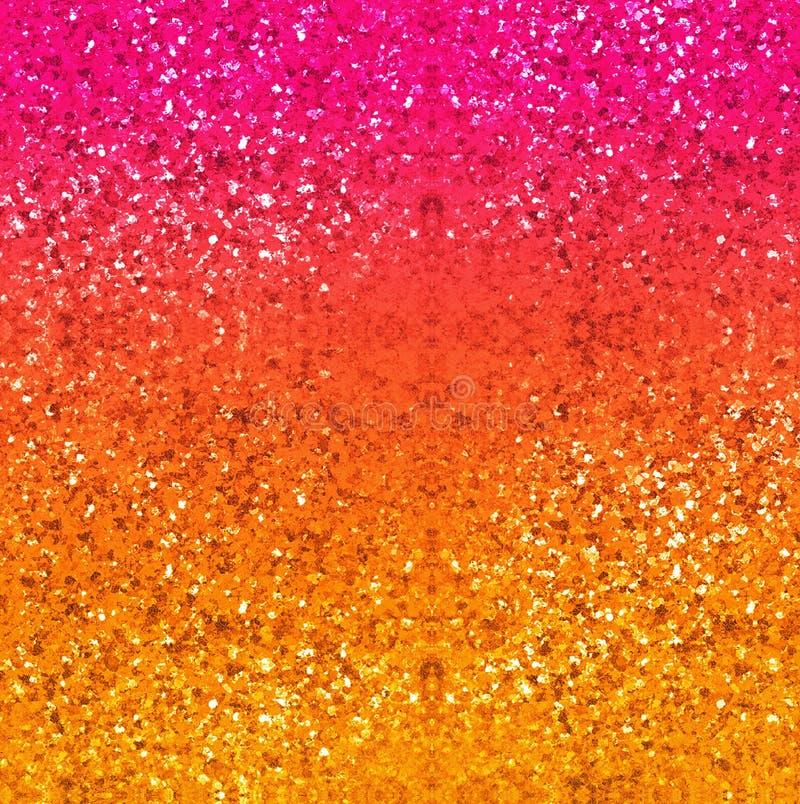 Blänka bakgrund i guld, rött, rosa färger och guling Abstrakt digital konst texturerad bakgrund stock illustrationer