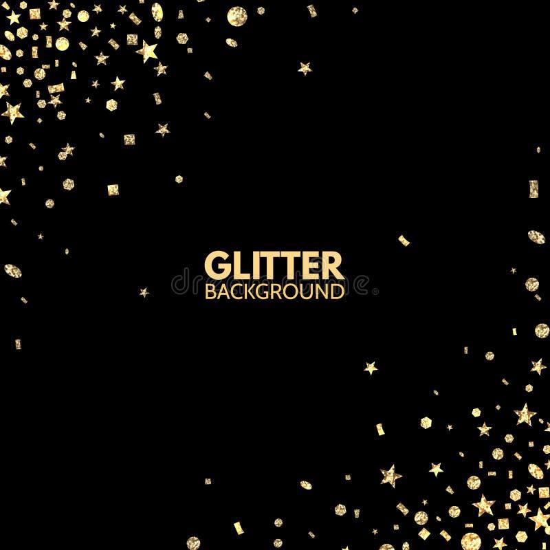 blänka bakgrund Ljus ram för glad jul Guld- gnistrande på den svarta bakgrunden Att falla blänker konfettier vektor royaltyfri illustrationer
