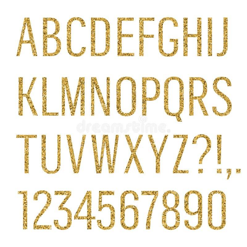 Blänka bokstäver Smal Sans Serif stilsort Latinska stora bokstav, nummer, interpunktioner som isoleras på vit bakgrund vektor royaltyfri illustrationer