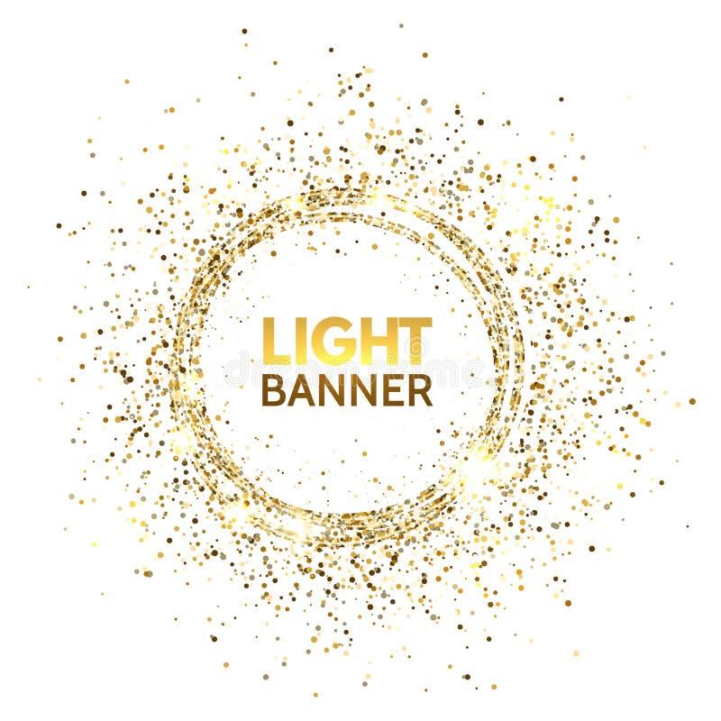 Blänka cirkeln Festlig guld- gnistrandebakgrund Blänka cirkelramen Design för ljus för stjärnadamm för jul och vektor illustrationer
