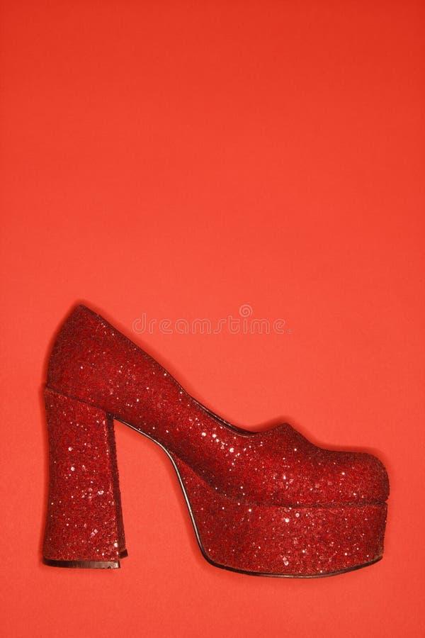 blänka den höga röda skon för hälet royaltyfri fotografi