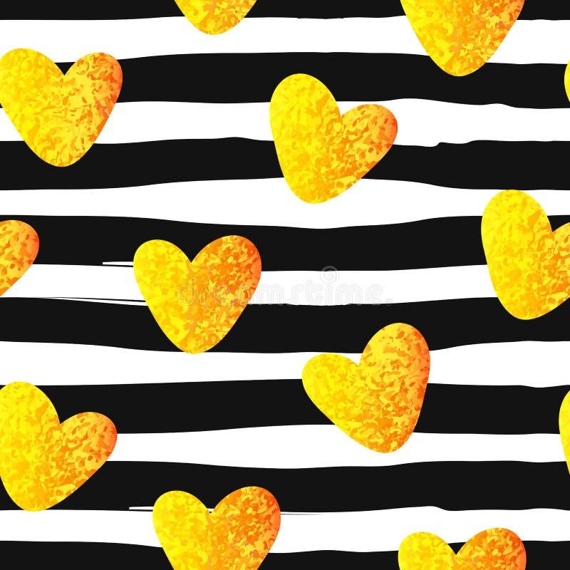 Blänka den sömlösa modellen för guld- hjärta på randig bakgrund vektor illustrationer