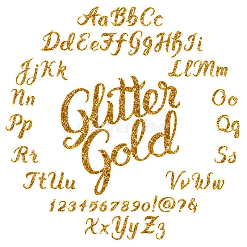 Blänka det guld- handskrivna alfabetet stock illustrationer