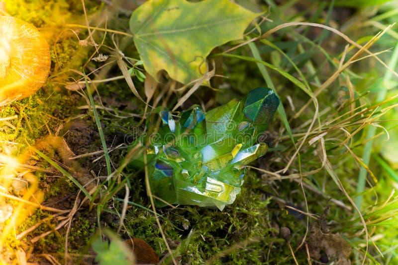 Blänka gröna magiska kristaller i skogen royaltyfri bild