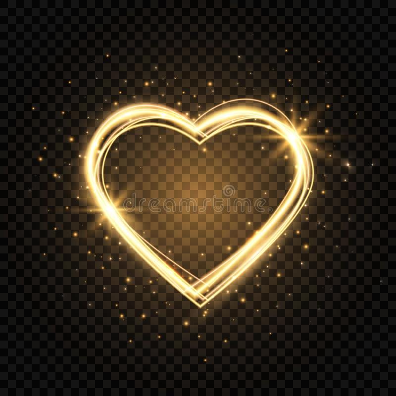 Blänka guldhjärtaramen med utrymme för text Hjärta med guld- ljus Lyckligt valentindagkort med glödande hjärta brigham stock illustrationer