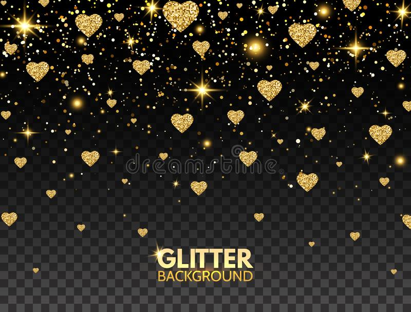 Blänka hjärtakonfettier Guld blänker partikeleffekt för lyxigt hälsningkort Mousserande textur Ljus design för valentindag vektor illustrationer