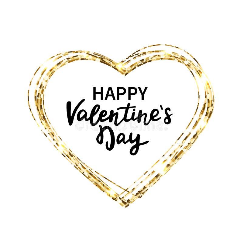 Blänka hjärtaramen Den lyckliga valentindagen räcker bokstäver Guld blänker hjärta och text för hälsningkort Ferielyx stock illustrationer