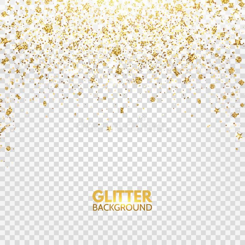 Blänka konfettier Guld blänker att falla på genomskinlig bakgrund Ljus jul skimrar design Glödande partikeleffekt för lu stock illustrationer