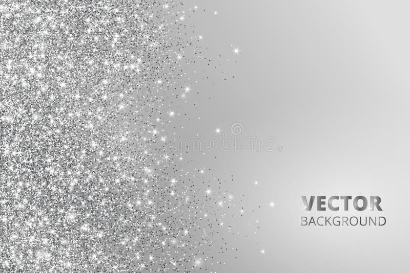 Blänka konfettier, snö som faller från sidan Vektorsilverdamm, explosion på grå bakgrund Mousserande gräns, ram vektor illustrationer