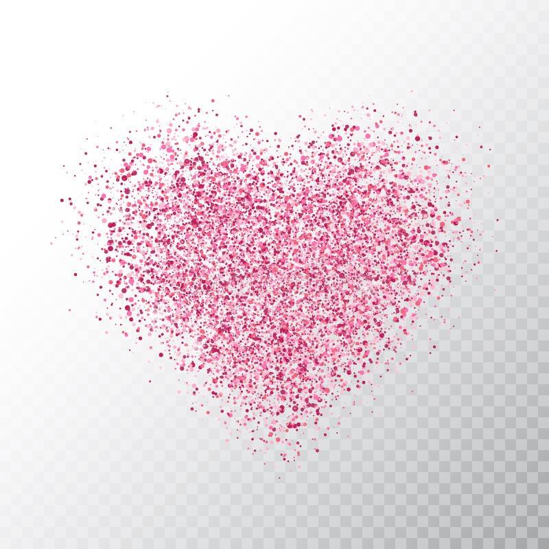 Blänka rosa hjärta som isoleras på genomskinlig bakgrund Glödande hjärtabaner med magiska partiklar för stjärnadamm Ljust mousser stock illustrationer