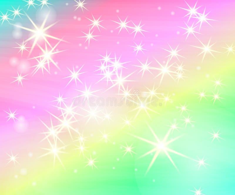 Blänka stjärnaregnbågebakgrund Stjärnklar himmel i pastellfärgad färg Ljus sjöjungfrumodell Färgrik stjärnabakgrund för enhörning royaltyfri illustrationer