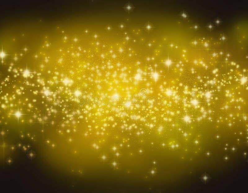 Blänka stjärnor på en guld- bokehbakgrund Natthimmel med stjärnabakgrund/textur royaltyfri foto