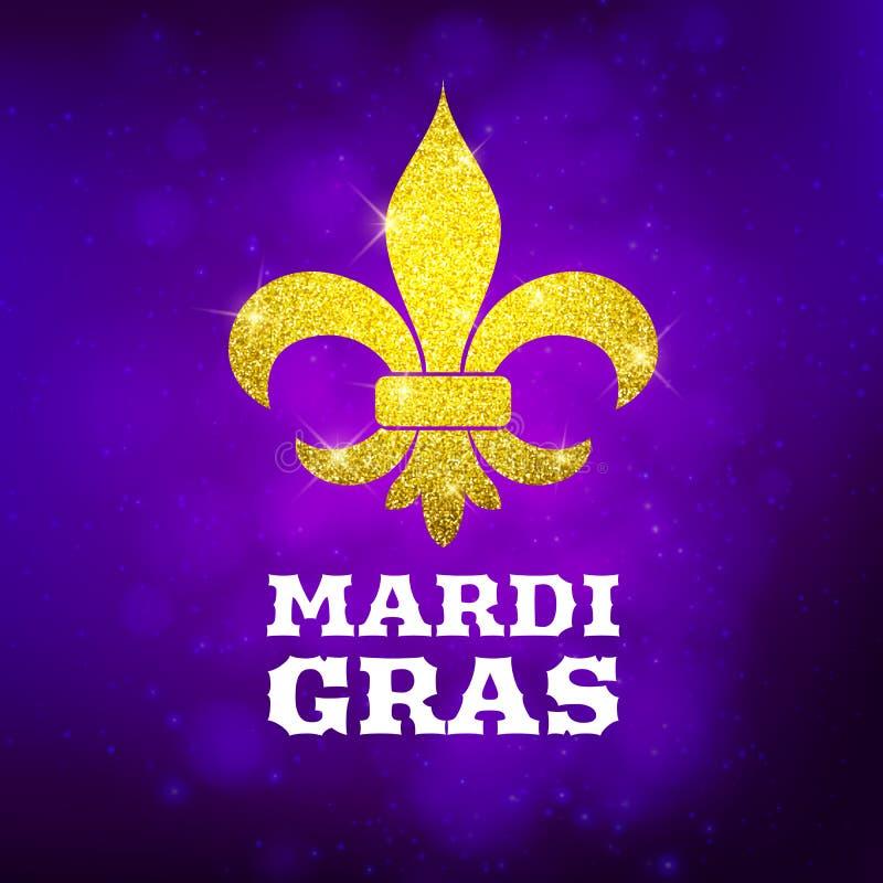Blänker dekorativ guld för den Mardi Gras vykortet symbolet, vektorillustration vektor illustrationer