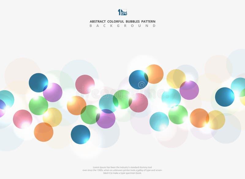 Blänker den färgrika cirkelbubblan för den abstrakta företags signalen med ljus bakgrund Du kan använda för annonsen, affischen,  vektor illustrationer