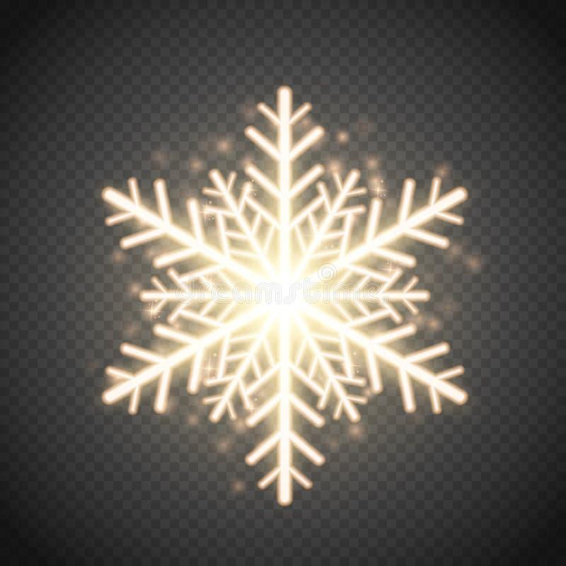 Blänker den guld- snöflingan för sken med Julvektorgarnering vektor illustrationer