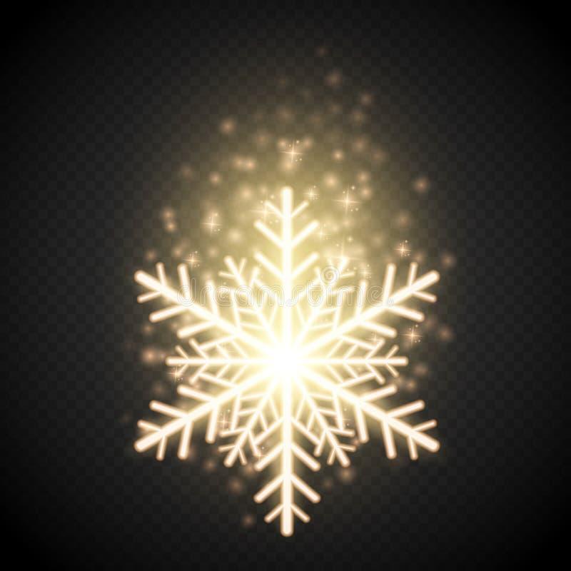 Blänker den guld- snöflingan för sken med Julvektorgarnering royaltyfri illustrationer
