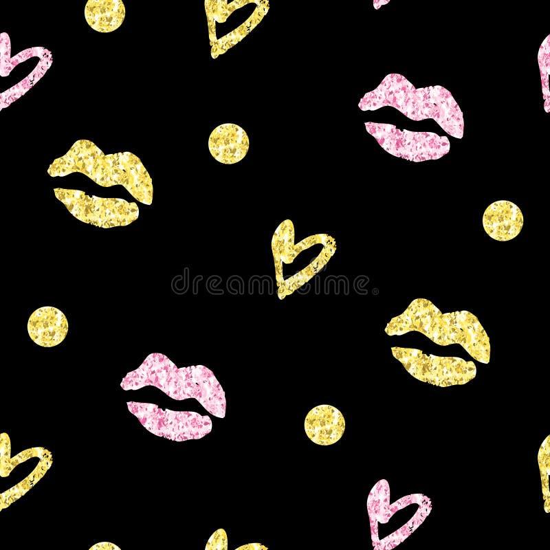 Blänker den sömlösa modellen för tappning med kyssar, hjärtor och cirklar med guld- folietextur stock illustrationer