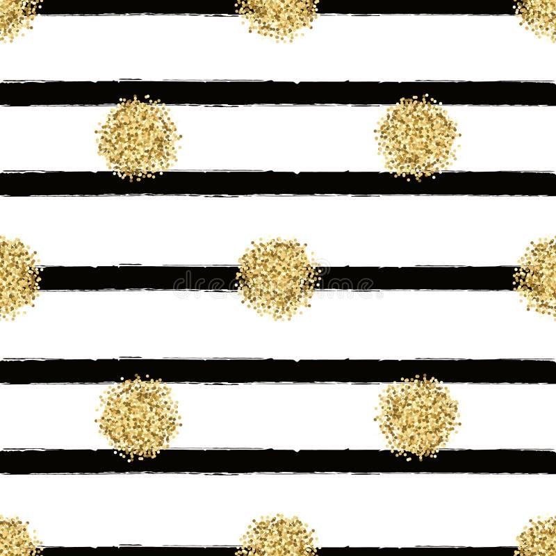 Blänker den sömlösa modellen för vektorn med guld cirklar royaltyfri illustrationer