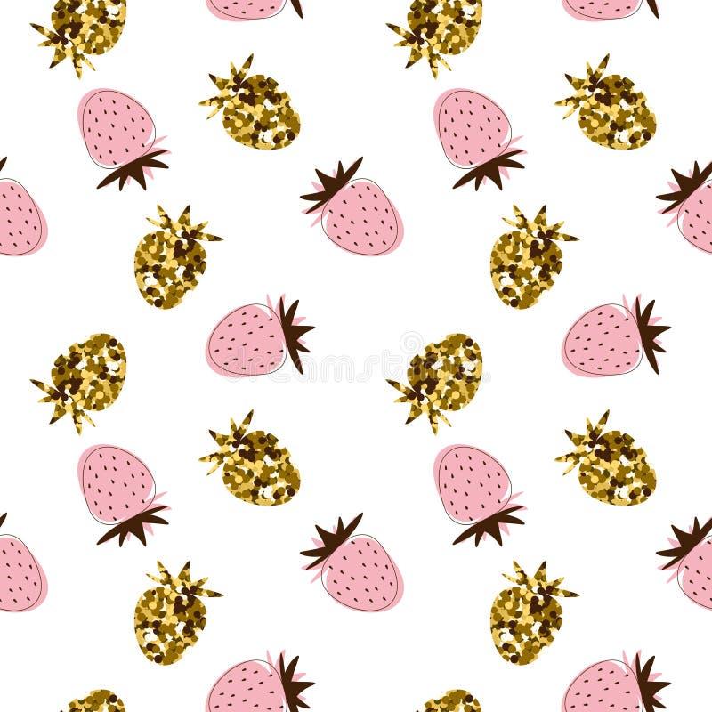 Blänker den sömlösa modellen för vektorn med guld- och rosa strawberrie vektor illustrationer