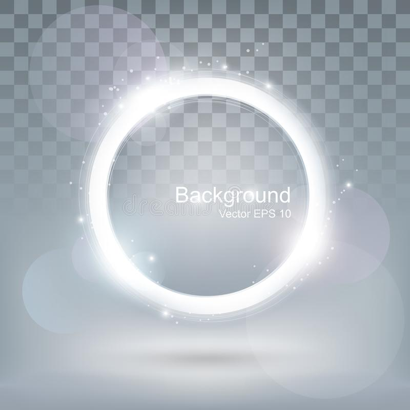 Blänker den skinande ramen för glödljusrundan och abstrakt bakgrund för cirkeln som är genomskinlig vektor illustrationer