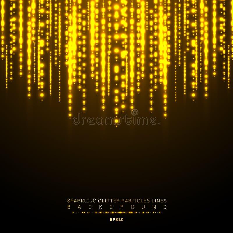 Blänker den skinande vertikala linjen för guld- ljus feriefestival på mörk bakgrund Modell för ljus för guld- julkonfettier skina stock illustrationer