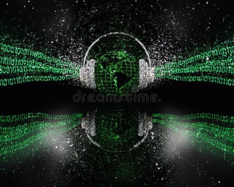 blänker det digitala globala begreppet för musik 3D med effekt stock illustrationer