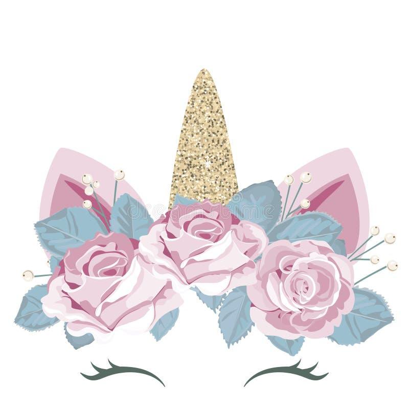 Blänker det gulliga catroonteckenet för enhörningen med den blom- kransen och guld beståndsdelen För födelsedag baby shower, kläd royaltyfri illustrationer