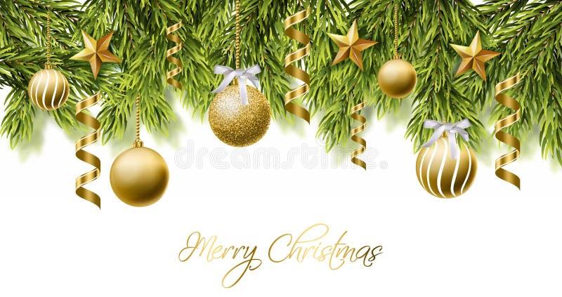 Blänker det vita kortet för glad jul med guld- bollvektorn Realistisk 3d specificerade illustrationen Guld- text på vit stock illustrationer