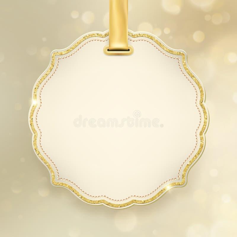 Blänker glödande abstrakt begrepp för julferie guld- bakgrund för defocused suddig bokeh med etiketten och utrymme för text 10 ep royaltyfri illustrationer