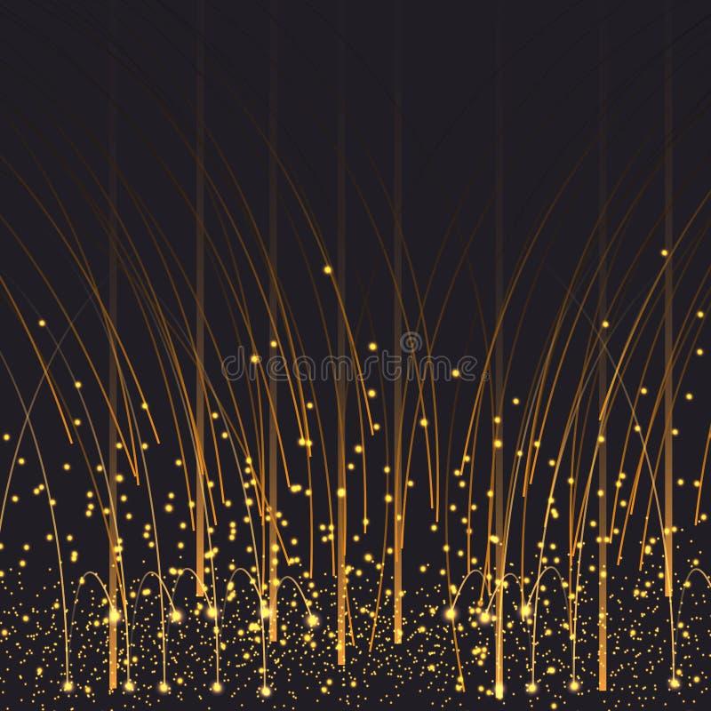 Blänker guld- skinande regn för vektoreps 10 damm som mousserar glittery bakgrundsgarnering stock illustrationer
