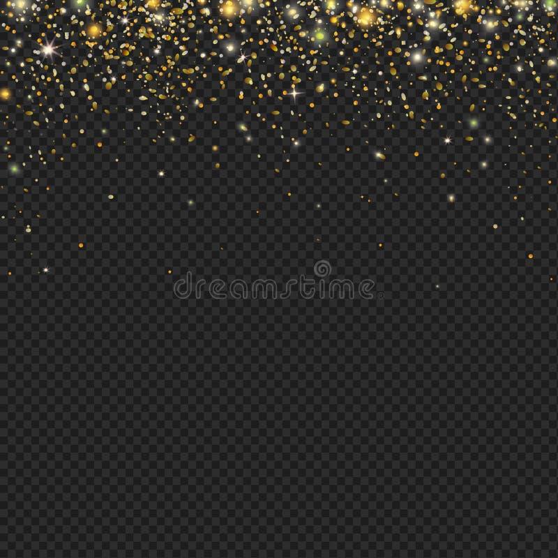 Blänker guld- snö för vektorn partikeltextur på en svart bakgrund Snöfall med konfettier, stock illustrationer