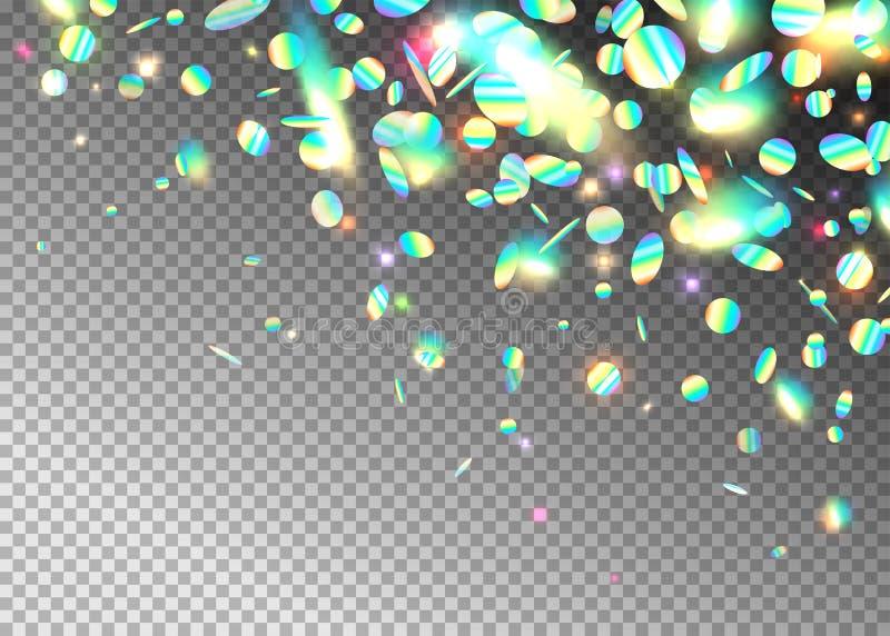 Blänker holographic effektbakgrund för regnbågen med, neon, ljusfoliepartiklar Regnbågsskimrande bråkdel för rund form på stock illustrationer