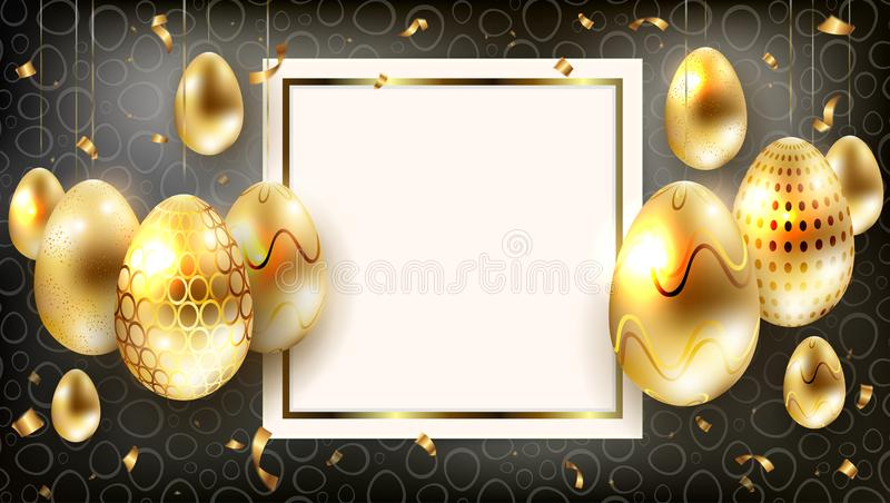 Blänker inramar mörk sammansättning för påsken med konturer av guld- ägg med, och rester av bandet, vektor illustrationer