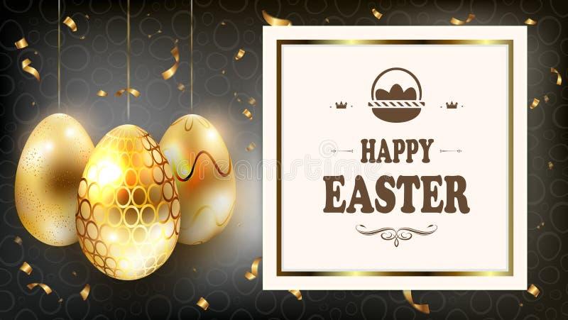 Blänker mörk sammansättning för påsken med konturer av guld- ägg med och den fyrkantiga ramen, stock illustrationer