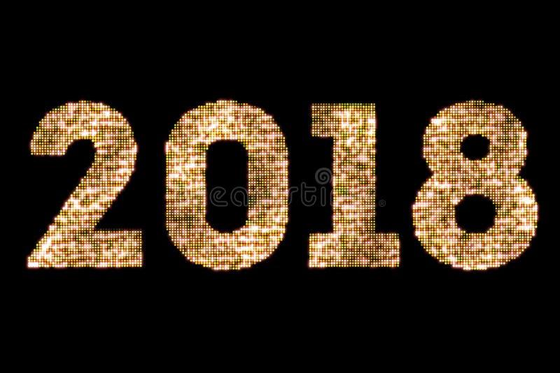 Blänker sparkly gul guld för tappning ljus och glödande effekt som simulerar text för ordet för lyckligt nytt år 2018 för ljusdio arkivfoto