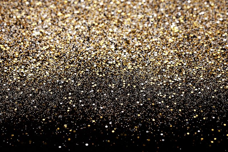 Blänker svart och guld för nytt år för jul bakgrund Tyg för ferieabstrakt begrepptextur royaltyfri fotografi