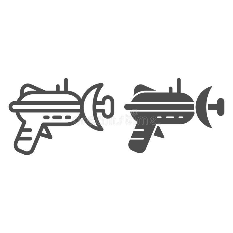 Bläserlinie und Glyphikone Laser-Waffenvektorillustration lokalisiert auf Weiß Raumgewehrentwurfs-Artentwurf stock abbildung